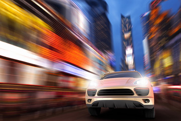 3D render of a SUV at high speed in Times square
