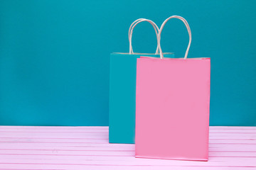 pink and blue shopping bags