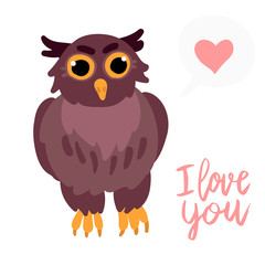 Happy Valentine cute owl flat illustration with heart and hand written lettering I love you isolated on white.