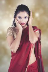 Beautiful Indian woman wearing Saree