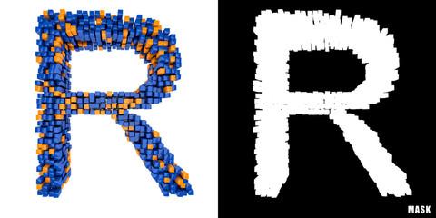 Litera R 3D sześciany kwadraty klocki piksele