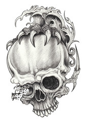 Art Surreal  Fantasy Skull. Hand pencil drawing on paper.