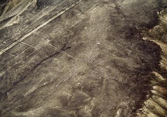 Aerial view of Hummingbird Geoglyph, Nazca, Ica Region, Peru