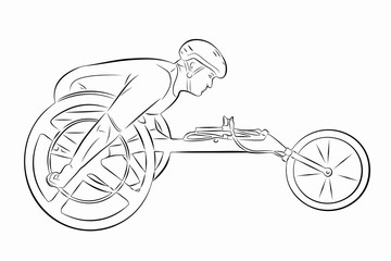 illustration of an invalid athlete on a wheelchair, vector drawing