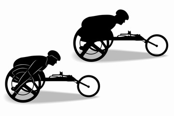 silhouette of an invalid athlete on a wheelchair, vector drawing