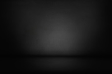 Fototapete - Black, dark and gray abstract  cement wall and studio room gradient background.
