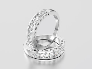 3D illustration two white gold or silver decorative diamond ring with hearts ornament