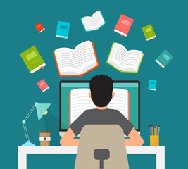Man in learning process. Man sitting behind his desk studying online using his computer flat vector illustration