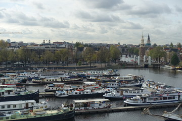 Lots of boats in the Oosterdok in Amsterdam