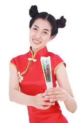 woman wearing chinese cheongsam dress and holding a chinese fan isolated on white background