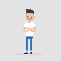 Young doubting character standing with crossed arms and tilting head. Negative emotions. Concern. / flat editable vector illustration