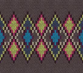 Seamless Knitted Pattern. Fashionable modern style