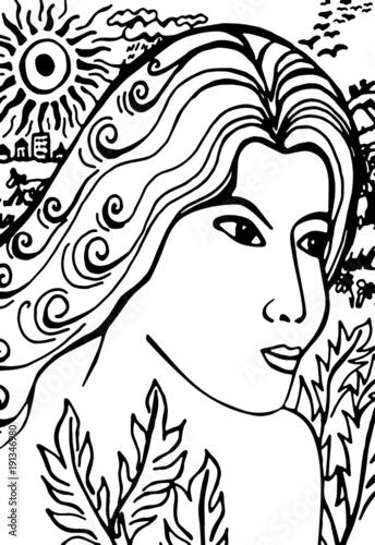 Dessin Abstrait Dune Femme Aux Cheveux Longs à La Campagne