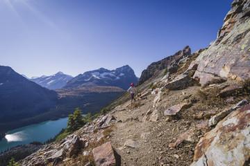 Woman hiker on the Alpine Circuit Trail at Lake O'Hara, Yoho National Park, UNESCO World Heritage Site, British Columbia, Canadian Rockies, Canada, North America
