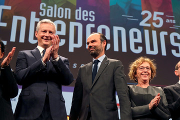 French Finance Minister Bruno Le Maire, French Prime Minister Edouard Philippe and French Labour Minister Muriel Penicaud attend the Young entrepreneurs fair in Paris