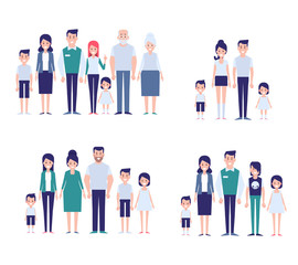 Flat vector family set. Big family together info graphics elements.