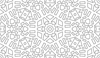 Creative Motive For Coloring Book. Black Lines on White.
