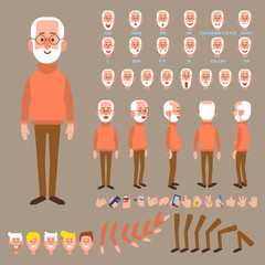 Front, side, back view animated character. Elderly man character creation set with various views, hairstyles, face emotions, poses and gestures. Cartoon style, flat vector illustration.