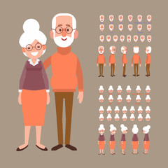 Front, side, back view animated characters. Grandparents creation set with various views, face emotions. Cartoon style, flat vector illustration.
