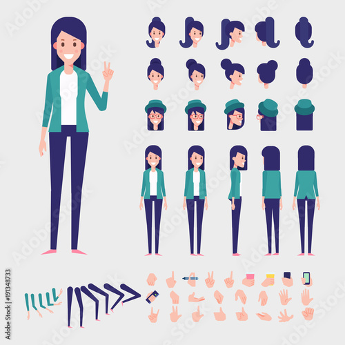 Young woman character for your scenes  Flat Vector Character