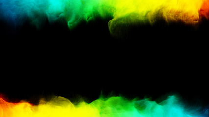 Colorful smoke on a black 3d render