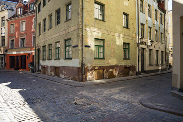 Empty streets of Riga old town.