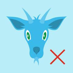 Flat goat animal farm icon