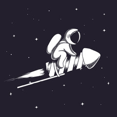 Cute astronaut flying on firework rocket to space.Childish vector illustration.Prints design