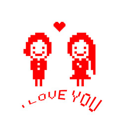 Valentine pixel card.  Lovers boy and girl. Cute cartoon illustration.