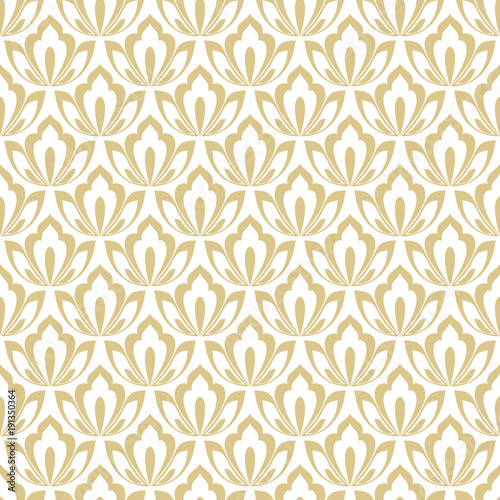 Floral Pattern Wallpaper Seamless Vector Background Gold And White Ornament Graphic Modern