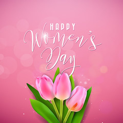 Happy Womens Day Illustration with Tulip Bouquet and Typography Letter on Pink Background. Vector Spring Flower Design Template for Greeting Card.