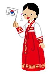 Korean woman holding a National flag,Wearing Traditional clothing