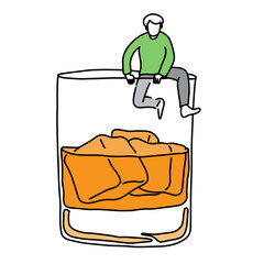 metaphor addicted man trying climb out off a glass of alcohol vector illustration sketch hand drawn with black lines, isolated on white background. Education Medical concept.