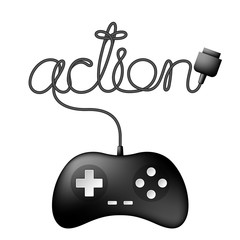 Gamepad or joypad black color and action text made from cable design illustration isolated on white background, with copy space