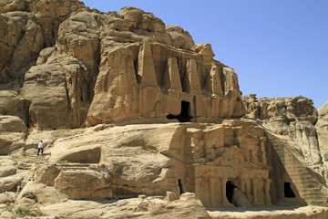 Ancient carved out buildings in Petra, Jordan