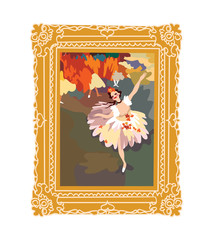 Ballerina dancing picture in a gold vintage frame.