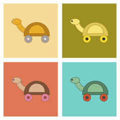 assembly flat icons Kids toy turtle