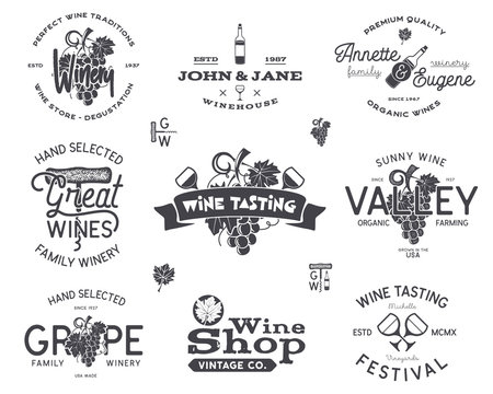 Wine logos, labels set. Winery, wine shop, vineyards badges collection. Retro Drink symbol. Typographic hand drawn design illustration. Stock vector emblems and icons isolated on white background