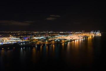 Aerial night image of Port Miami Florida
