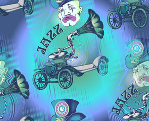 Pattern. Grotesque steampunk car and sad clown