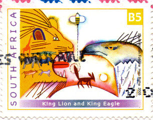 Ukraine - circa 2018: A postage stamp printed in South Africa show close-up of a lion, eagle and other animals. Inscription South African Folklore Hein Botha 2005. Circa 2000.