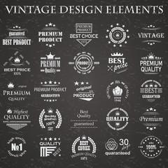 Premium quality labels set. Vintage design elements. Retro style