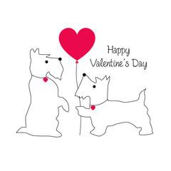 cute scottie dog valentine with balloon