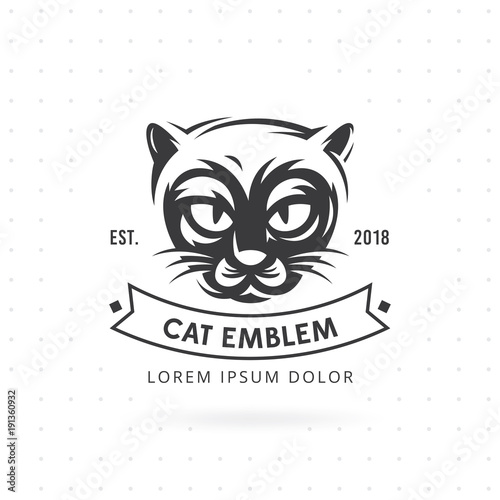 Cat Face Logo Vector Ilration Emblem Design And Label Head On White Background Animal Template