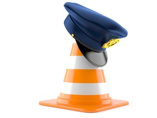 Police hat with traffic cone