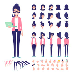 Front, side, back view animated character. Geek girl character creation set with various views, hairstyles, poses and gestures. Cartoon style, flat vector illustration
