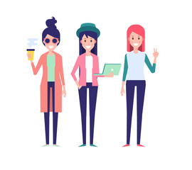 Hipster girls vector illustration.