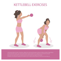 Kettlebell exercises on white background. Crossfit exercises for women. Healthy and fit young black girl. Flat Illustration