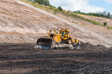 Mining Equipment or Mining Machinery, Bulldozer, wheel loader, shovels, loading of coal, ore on the dump truck from open-pit or open-cast mine as the Coal Production.