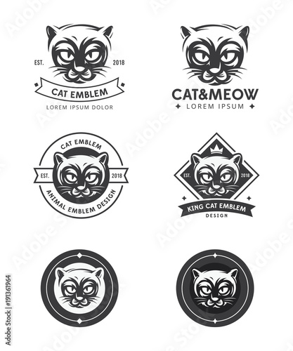 set logo illustration cat cat face logo vector illustration emblems design icons